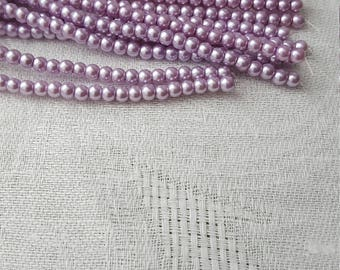 73 pcs 4mm Light Purple Glass Faux Pearls Glass Beads 2 Strands 1mm Hole Jewelry Making DIY