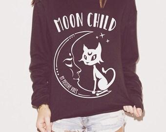 Moon Child Ladies Sweatshirt, Sof Grunge, Cute sweatshirt, Yoga sweatshirt, Slouchy Sweatshirt, Oversized Sweater, Yoga sweater