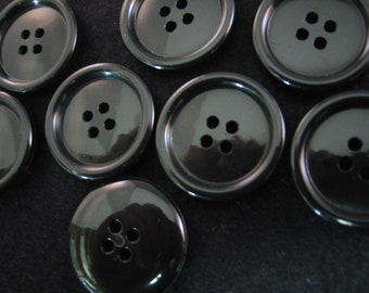 "Black Buttons. Large black buttons. shiny 4 hole Size is 13/16"" (20mm) - Lot of 6"