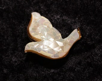 Vintage Liz Claiborne Mosaic Mother-of-Pearl Dove Pin