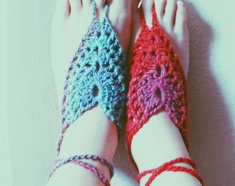 Batik Color Burst Bohemian Barefoot Sandals. Hand Crocheted Vegan Friendly Soleless Sandals. Unique and Colorful Beach Wear. More Colors!