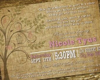 Organic/Nature/Woodsie Customizable Baby Shower Invitation, digital printable 5x7 file