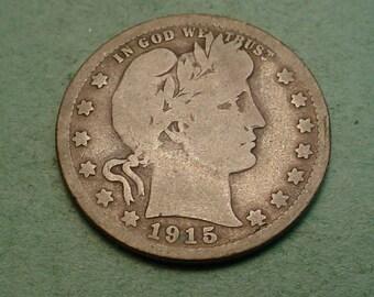 1915-S   Barber Quarter VG / Insurance included in SH  <>ET5393