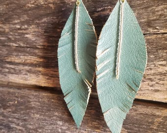 Leather Turquoise Feather Earrings