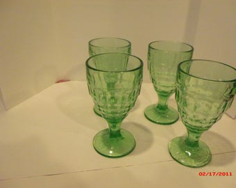 Green Glass- Four (4) Wine goblets
