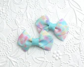 "Tiny Hair Clips, Baby Hair Bows, Pigtail Hair Clips, Toddler Bows, Watercolor Baby Bows, 2"" Hair Bows, Set of Baby Hair Bows, Baby Girl Gift"