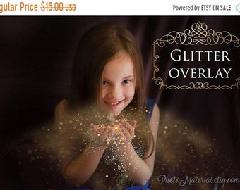 ON SALE Photoshop Overlay Gold Blowing Glitter Easter Overlays Digital Photo Editing Template