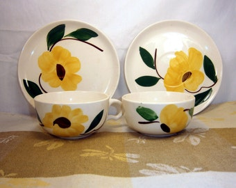 Stetson Pottery / Stetson Chine / Rio / Replacements / Four pieces / 2 Cups / Saucer / Dessert Plate / Yellow Flower / 1940's