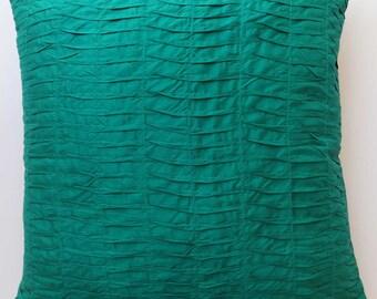 Jade Green pleated pillow. Jade Green art  silk pin  tuck  pillow. decorative throw  pillow. festive decor 18 inch. custom  made