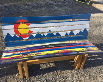 Colorado Painted Ski Bench