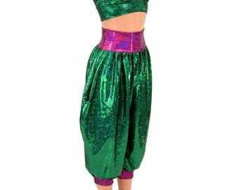 Jenie Costume Green Shattered Glass Starlette Bralette w/Fuchsia SJ Straps & Green Shattered Genie Pants w/Fuchsia SJ Band and Cuffs 155231