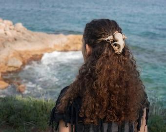 Schädel-Kopfschmuck. Katze Schädel Kopfstück, gefälschte Präparatoren, Gothic, Steampunk. Totenkopf Haarspange. Festival Haar tragen. Hexenkostüm Accessoire