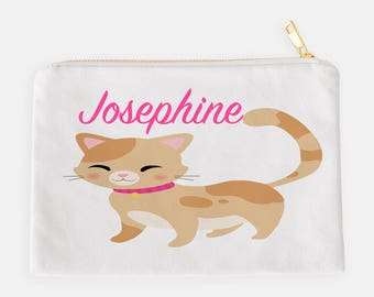 Kitten Pencil Case, Personalized Pouch, Makeup Bag, Cosmetic Pouch, Custom Pencil Case, School Pouch, Kids Pencil Pouch, Kitten Pouch
