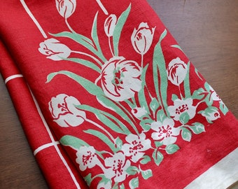 Vintage Linen Dish Towel Red Green White Kitchen Unused Mid Century Printed 1950s Kitchen Tulips