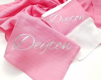 "Personalized Double Gauze AKA- Muslin Baby Blanket Hot Pink Perfect for Swaddle, Baby Shower Gift and Everyday 46"" X 46"""