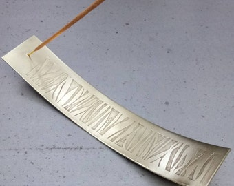 Zebra etched incense dish, brass