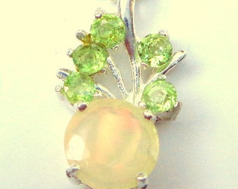 Ethiopian Welo Opal Necklace, Sterling Silver Setting, Peridot Accents, Multi Color Fire, Green,Peach,Yellow Opal Necklace, OOAK