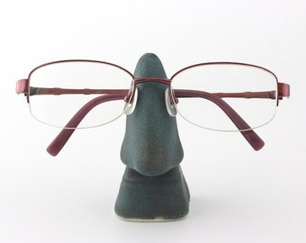 FREE SHIPPING Dark turquoise ceramic glasses stand, Nose eyeglasses holder, sunglasses holder, home & office eyewear display (No. N-gla-36)