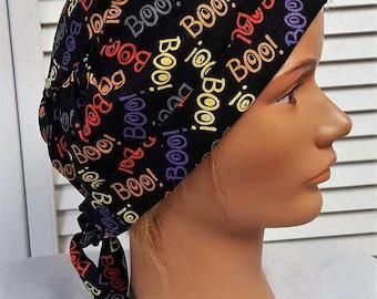 Halloween BOO! - Women or Men's  Scrub Hat - Adjustable, Fold Up