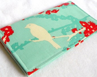 Sparrows in Aqua Handmade Vegan checkbook cover / wallet  Aviary 2gifts under 50