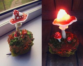 Mushrooms Night Light - Mushroom Lamp - lamp - fungi - Toadstool - amanita - moss
