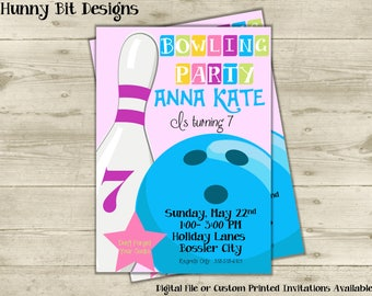 Bowling Party,Bowling, Strike,  Birthday Invitation, Girl Invitation, Party Invitation, Bowling Balls, Blue, Purple, Pink, Green, Yellow