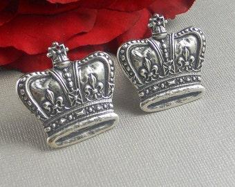 Silver Cufflinks, Large Crown Cufflinks, Crown, Queen, Cuff  Links, Victorian Inspired