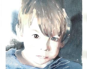 Custom Children's Portrait from Photo, personalized watercolor art, boy / girl / baby / toddler / newborn portrait