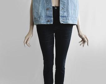 90's Vintage Sturdy Blue Denim Sleeveless Jean Vest - for Men or Women