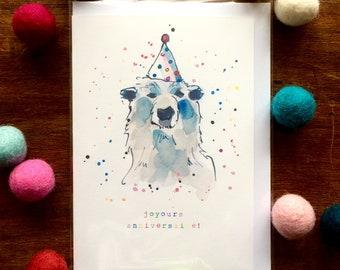 "French Birthday Card - Polar Bear  ""JoyOurs Anniversaire"" Card - Multicolour - Illustration"