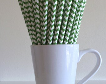 Green Paper Straws Kelly Green Chevron Party Supplies Party Decor Bar Cart Cake Pop Sticks Mason Jar Straws  Party Graduation