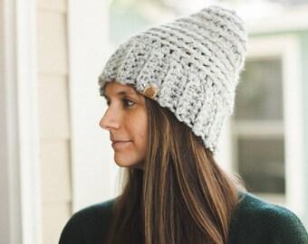 Bonnet en Crochet Chunky--gris