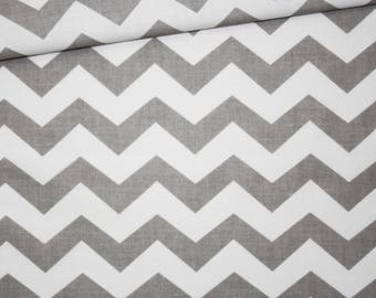 Chevron gray, cotton fabric printed 50 x 160 cm, zigzag, chevron, grey and white