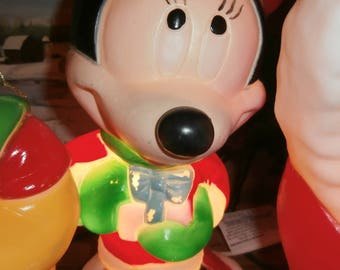 Christmas decoration outdoor or tabletop blow mold Santa's Best Minnie works