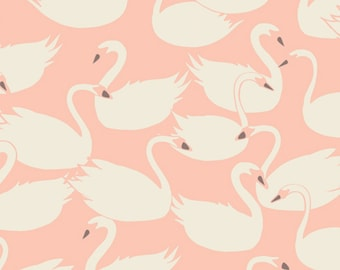 Swanlings Bevy in Peach ~ Hello, Ollie by Bonnie Christine for Art Gallery Fabric ~ Organic Cotton ~ Weave & Woven