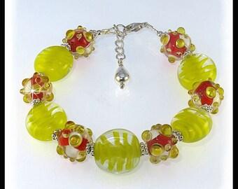 Yellow and Orange bracelets, Lampwork glass bracelets, Summer bracelet, Summer jewelry, Yellow jewelry, Orange jewelry, handmade jewelry
