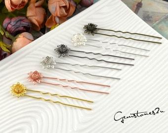 10pcs Brass Cameo Setting Hair Pins, Wedding Hair Pins, Prom Hair Pins, U Shape Filigree Flower Hair Clips Wedding -- 6 Colors available
