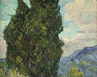 Road with Cypress and Star- Vincent Van Gogh Oil Painting Museum Quality Reproduction