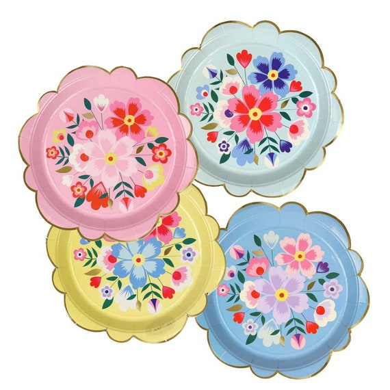 Bright Flower Paper Plates (large) Meri Meri Kashmiri Floral Party Plate Fiesta Party Decor Tropical Themed Party Mexican Party from CrankyCakesShop on ...  sc 1 st  Etsy Studio & Bright Flower Paper Plates (large) Meri Meri Kashmiri Floral Party ...