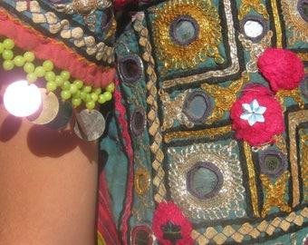Banjara Vintage  Embroidered  Yoke Neck  Tribal Gypsy vest
