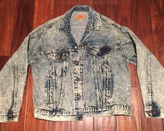 Vintage Levis Acid Washed Denim jacket XL 1980's