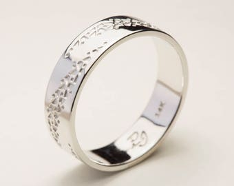 Men's Wedding Band, Mens White Gold Wedding Band, Men's Wedding Bands, Textured Gold Wedding Ring, Mens Wedding Ring,  Mens Wedding Band