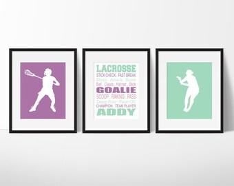 Girls Lacrosse Print - Girls Lacrosse Bedroom Decor - Girl Sports Decor - Lacrosse Print - Teen Room - Kid Room - Kid Room Decor - Game Room