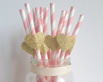 Birthday Party Pink and Glitter Gold Heart Straws