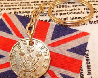 1944 3d 12 Sided Threepence English Coin Keyring Key Chain Fob  King George VI