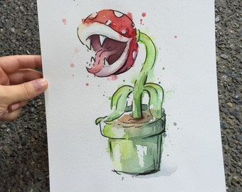Piranha Plant ORIGINAL Watercolor Painting, Geek Art, 9x12""