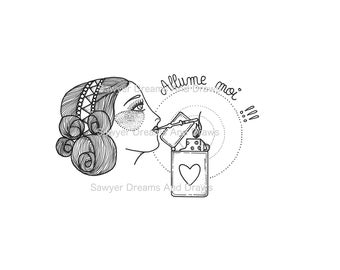 Light me printable illustration, black and white original drawing