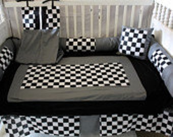 WOW ! 5Piece set - Gray black checker Crib bedding-Free personalized pillow