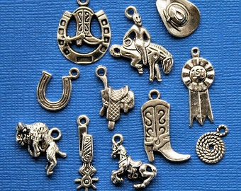 Rodeo Charm Collection Antique  Silver Tone 11 Different Charms - COL144
