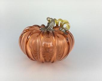 """5"""" Glass Pumpkin by Jonathan Winfisky - Transparent Aurora - Hand Blown Glass"""